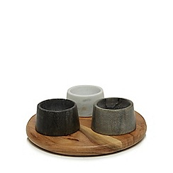 RJR.John Rocha - Acacia board with three stone dishes