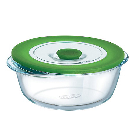 Pyrex - Glass 1l round casserole dish with lid
