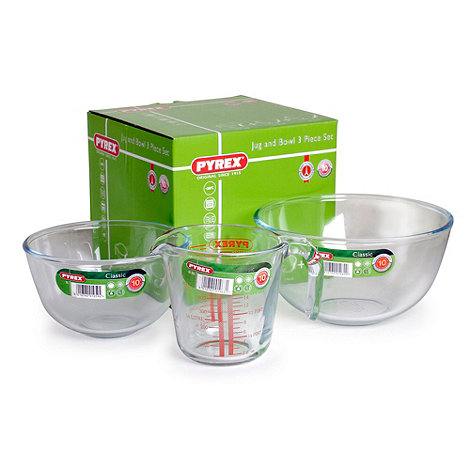 Pyrex - Glass three piece jug and bowl set