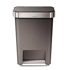 Simplehuman - 45 litre rectangular grey pedal bin