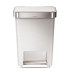 Simplehuman - 45 litre rectangular white pedal bin