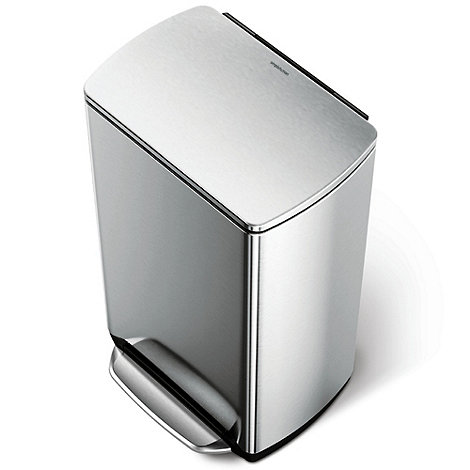 Simplehuman - Brushed stainless steel 38L rectangular pedal bin