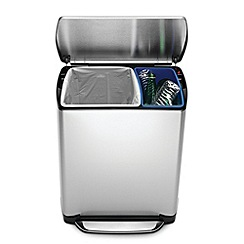 Simplehuman - Stainless steel 30/16L rectangular recycler