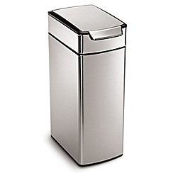 Simplehuman - Silver Slim Rectangular 40 Litre Touch Bar Bin