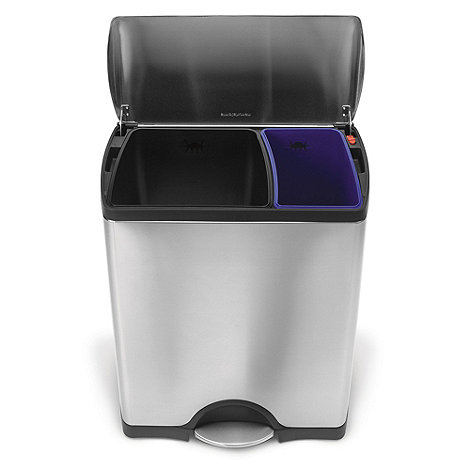 Simplehuman - Silver Simple Human 16L rectangle recycle bin