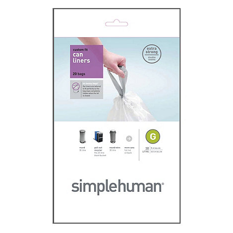 Simplehuman - Pack of 20 white 30L bin liners