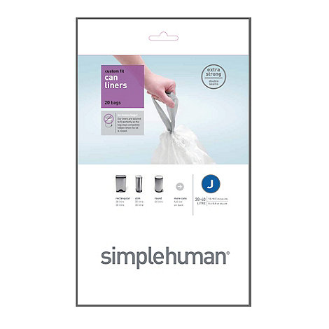 Simplehuman - Pack of 20 white 30-40 litre bin liners