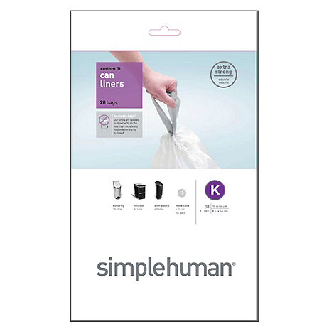 Simplehuman - Pack of 20 white 35-45L bin liners