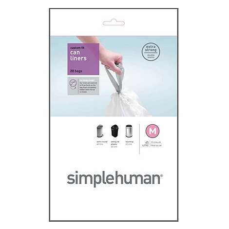 Simplehuman - Pack of 20 white 45 litre bin liners