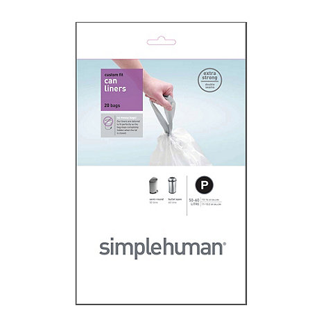 Simplehuman - Pack of 20 white 50-60L bin liners