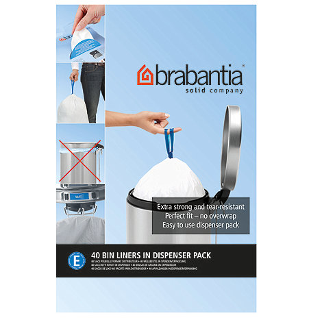 Brabantia - Pack of 40 white 20L perfect fit bin liners