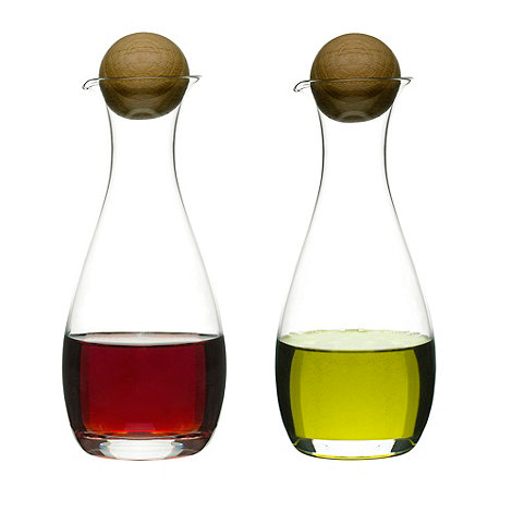 Sagaform - Glass and oak oil and vinegar set
