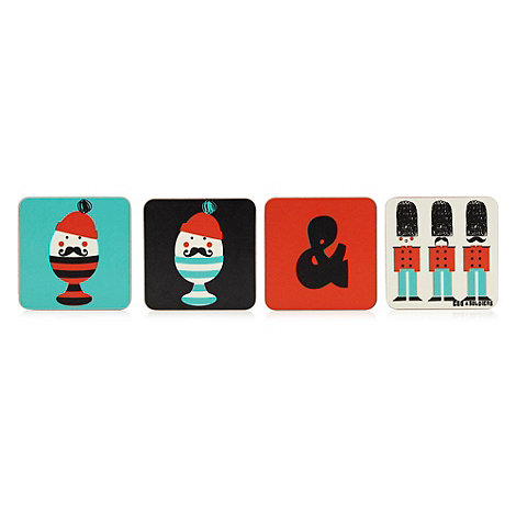 Ketchup on Everything - Pack of four egg and soldiers coasters