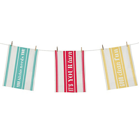 Jamie Oliver - Set of three turquoise slogan tea towels