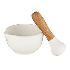 Debenhams - White stoneware wood pestle and mortar kitchen set