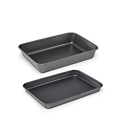 Home Collection - Grey non-stick roaster and oven tray set
