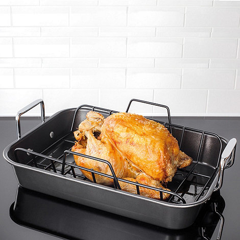 Stellar - James Martin steel 40x28cm 'Roast n Rack' roasting dish