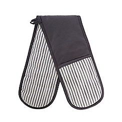 Home Collection - Grey and white 'Stockholm' double oven gloves