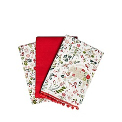 Home Collection - Set of three multi-coloured Christmas print tea towels