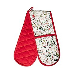 Home Collection - Multi-coloured Christmas print double oven gloves