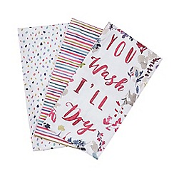 At home with Ashley Thomas - Multi-coloured set of three tea towels