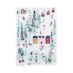 At home with Ashley Thomas - White alpine print tea towel