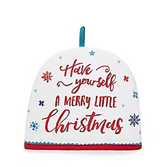 At home with Ashley Thomas - Multi-coloured 'Have Yourself a Merry Little Christmas' print tea cosy