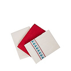 At home with Ashley Thomas - Set of three cream and red plain and embroidered hand towels