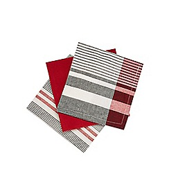 Home Collection - Pack of three red striped tea towels