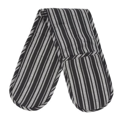 Ashley Wilde Cotton black striped double oven gloves - . -