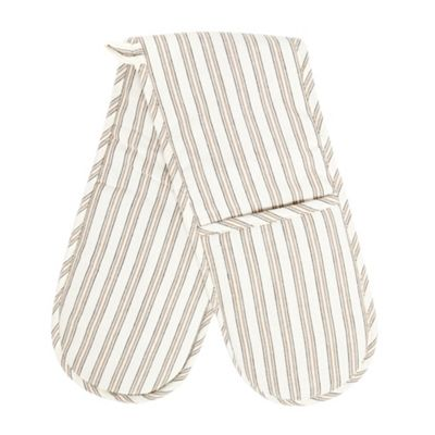 Ashley Wilde Cotton natural striped double oven gloves - . -