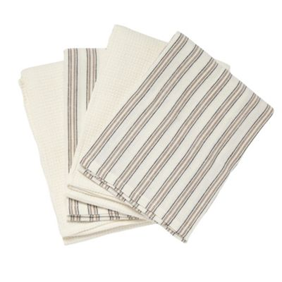 Ashley Wilde Cotton set of four natural striped tea towels - . -