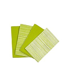 Home Collection Basics - Set of four green striped tea towels