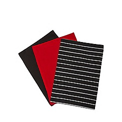 Debenhams - Set of three black striped tea towels