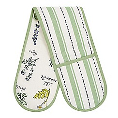 Debenhams - White striped botanical print double oven gloves