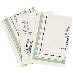 Debenhams - Set of three white botanical and striped tea towels
