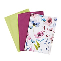 Debenhams - Set of three purple, green and floral tea towels