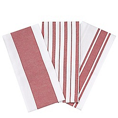 Debenhams - Pack of three red striped tea towels