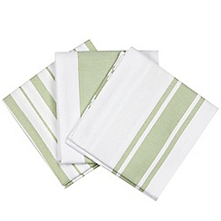 Debenhams - Set of three green striped tea towels