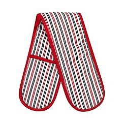 Debenhams - Red striped double oven glove