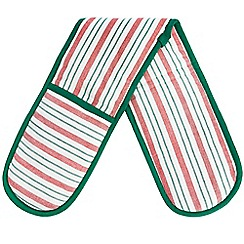 Debenhams - Green and red striped oven mitts