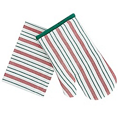 Debenhams - Green and red striped oven mitt and tea towel