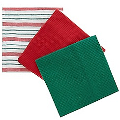 Debenhams - Pack of six green and red striped tea towels
