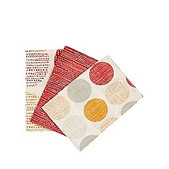 Home Collection Basics - Set of three cream spot and red dot print tea towels
