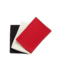 Home Collection Basics - Set of three basic red tea towels