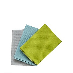 Home Collection Basics - Set of three basic teal tea towels