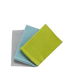 Home Collection Basics - Set of three basic teal tea towels