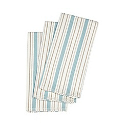 Debenhams - Set of three blue striped textured tea towels