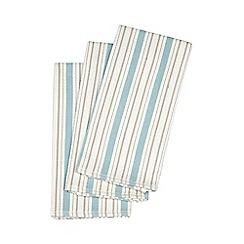 Debenhams - Set of three blue striped textured tea towels