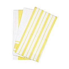 Debenhams - Set of three yellow tea towels
